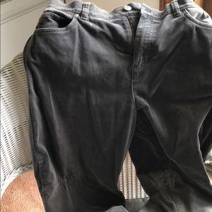 Grey velvet jean style velvet pants